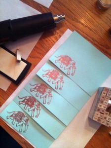 elephants, embossing